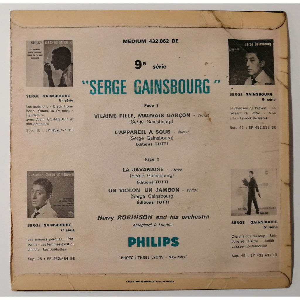 Serge Gainsbourg Vilaine Fille Mauvais Garçon +3