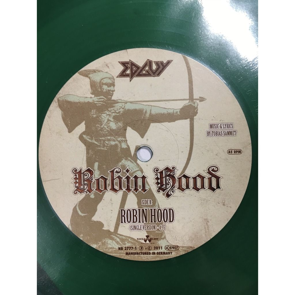 edguy Robin Hood, 45 RPM, Single, Limited Edition, Numbered, Green Vinyl