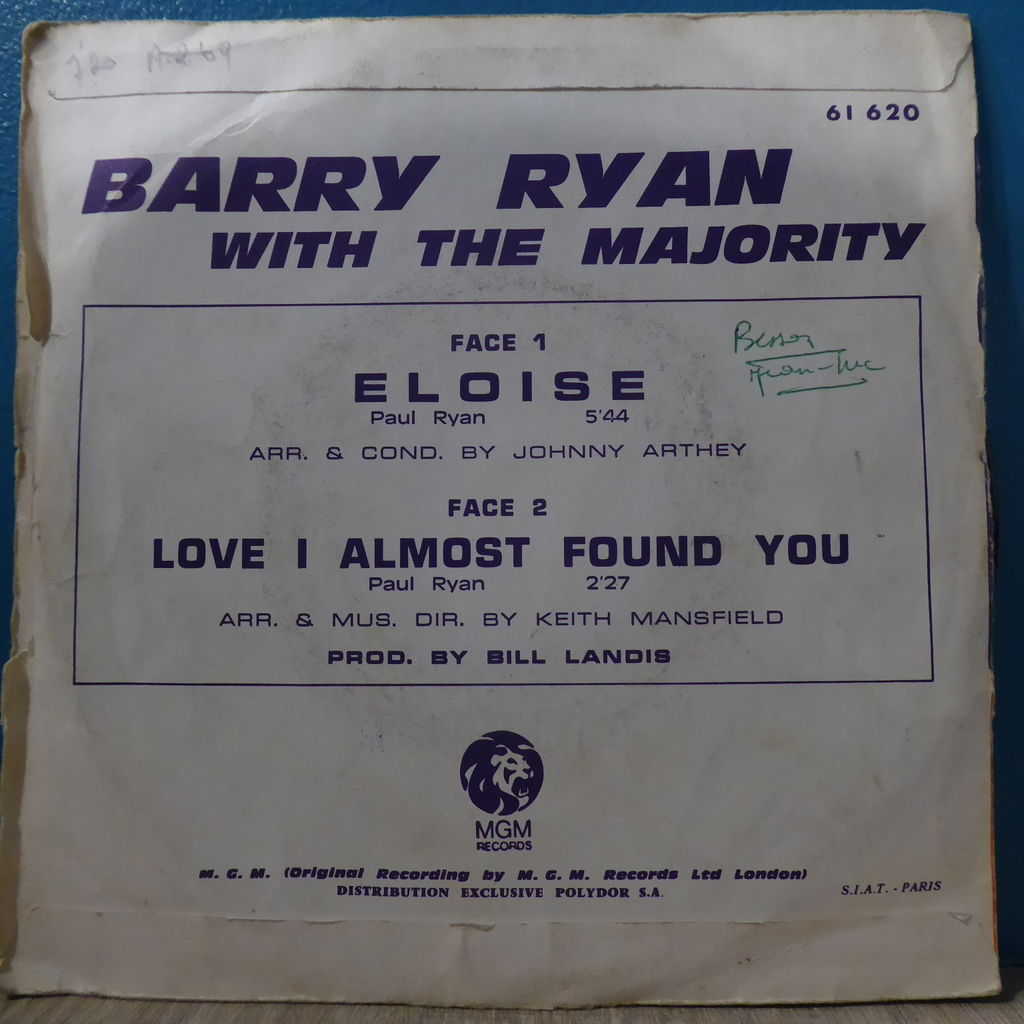 barry ryan Eloise + Live I almost found you