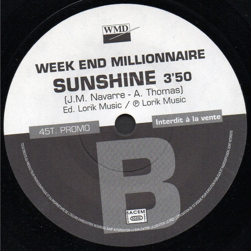 WEEK END MILLIONNAIRE FLASHBACK - SUNSHINE .. .. 45T. PROMO