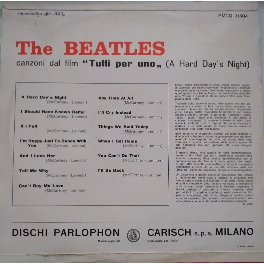 the beatles tutti per uno (a hard day's night) 1st red parlophon