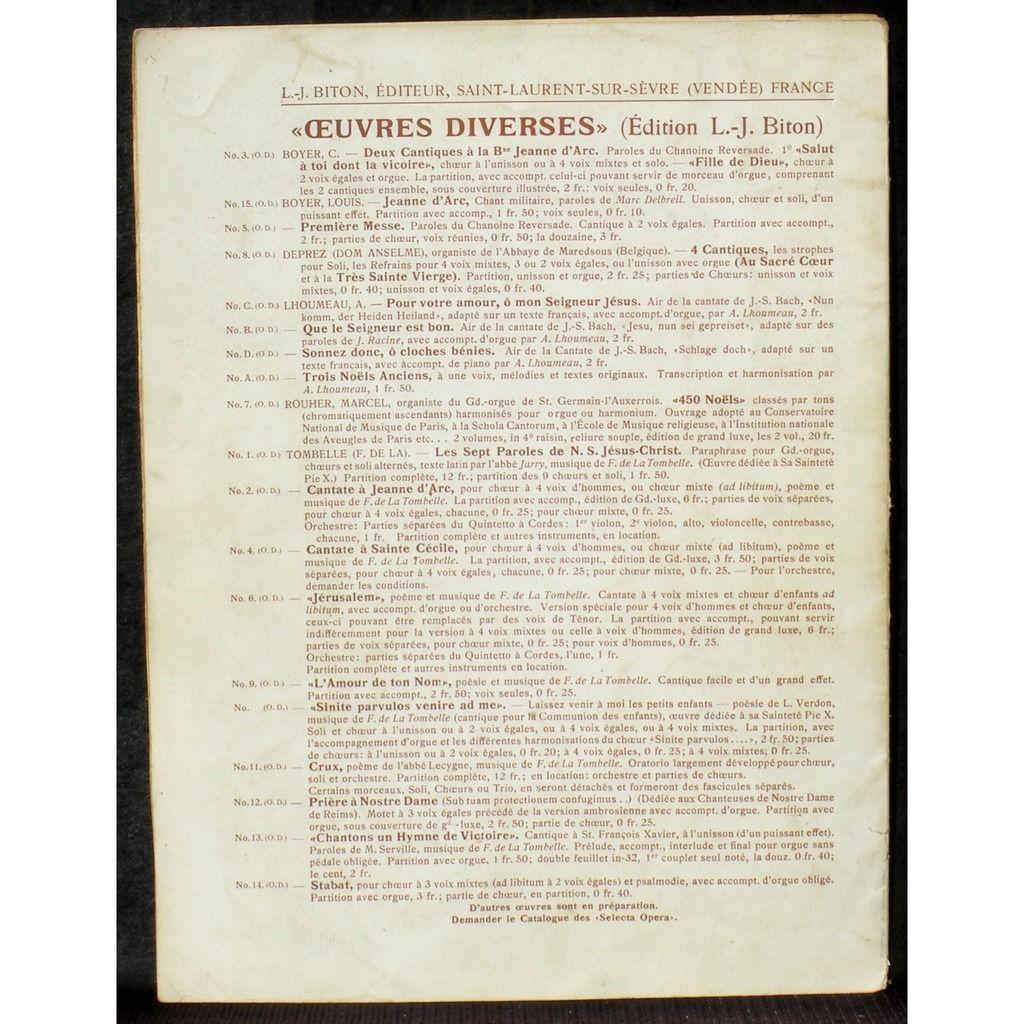 Partition / Score Fernand de La Tombelle Cantiques 1912