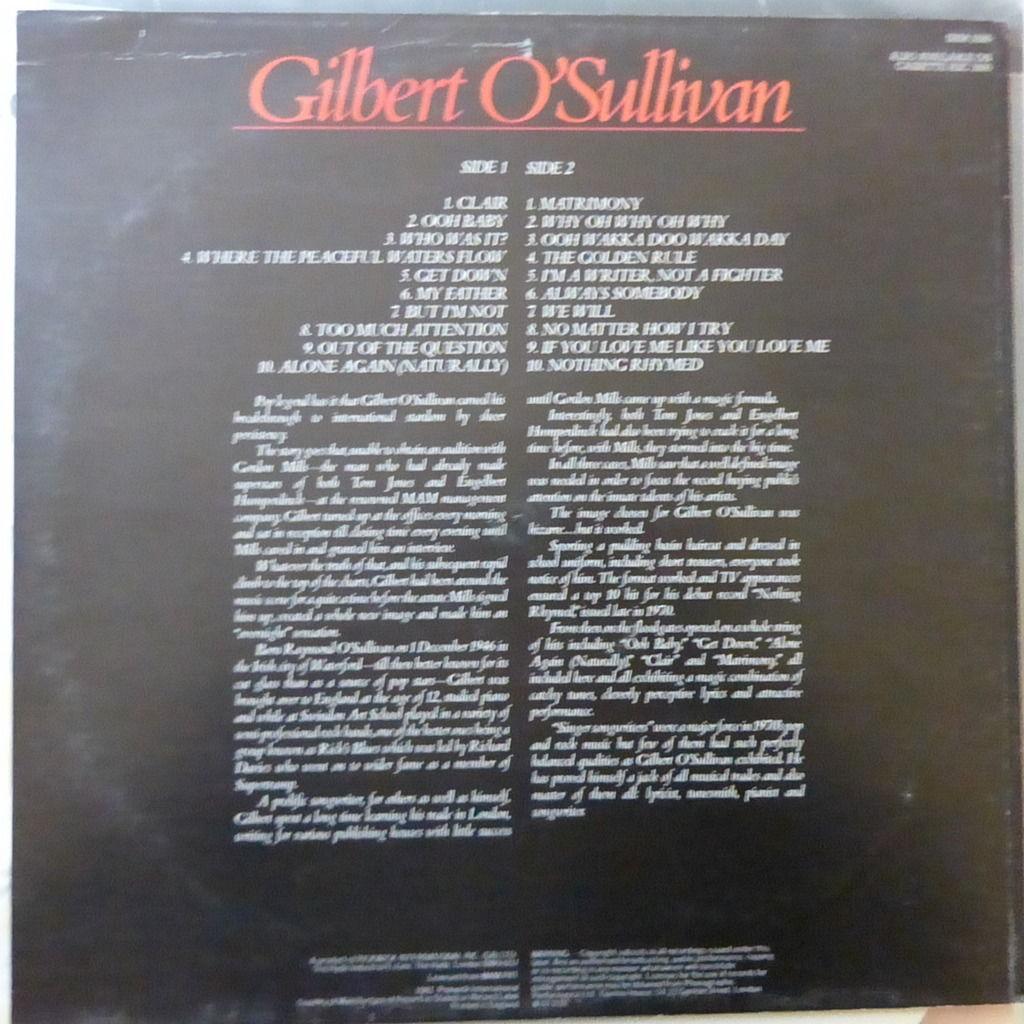 GILBERT O'SULLIVAN 20 OF THE VERY BEST