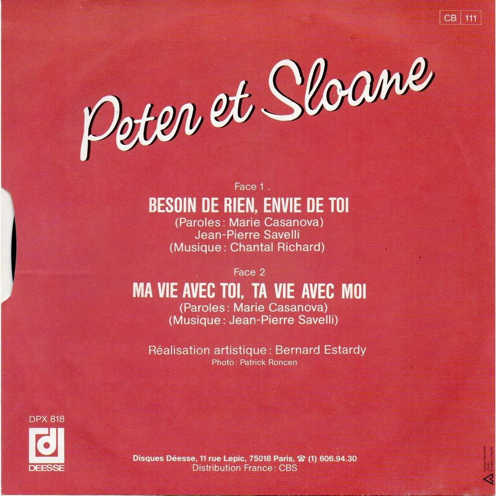 PETER & SLOANE BESOIN DE RIEN ENVIE DE TOI ( VERSION ORIGINALE ) - MA VIE AVEC TOI TA VIE AVEC MOI ..