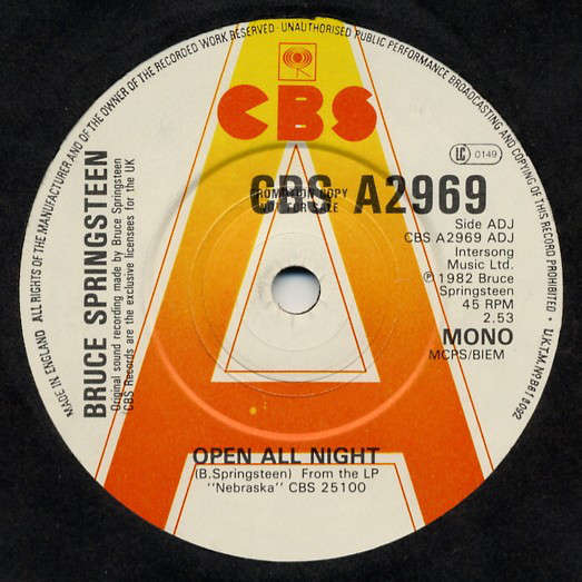 SPRINGSTEEN, Bruce open all night - open all night (uk promo copy)