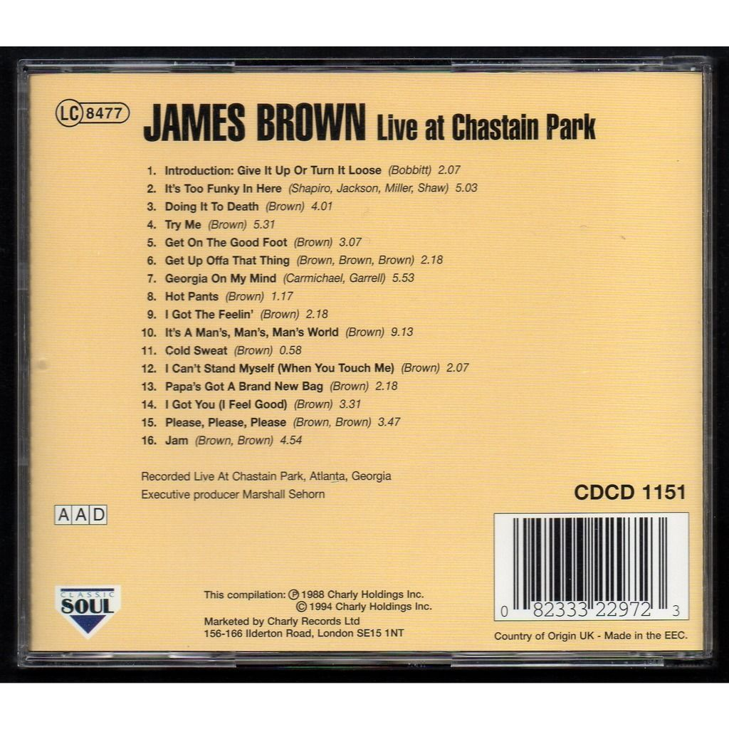 JAMES BROWN AND THE SOUL G'S LIVE AT CHASTAIN PARK