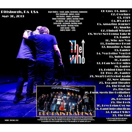 The Who Live in PITTSBURGH, PA 2019 SEPTEMBER 8th LTD 2 CD