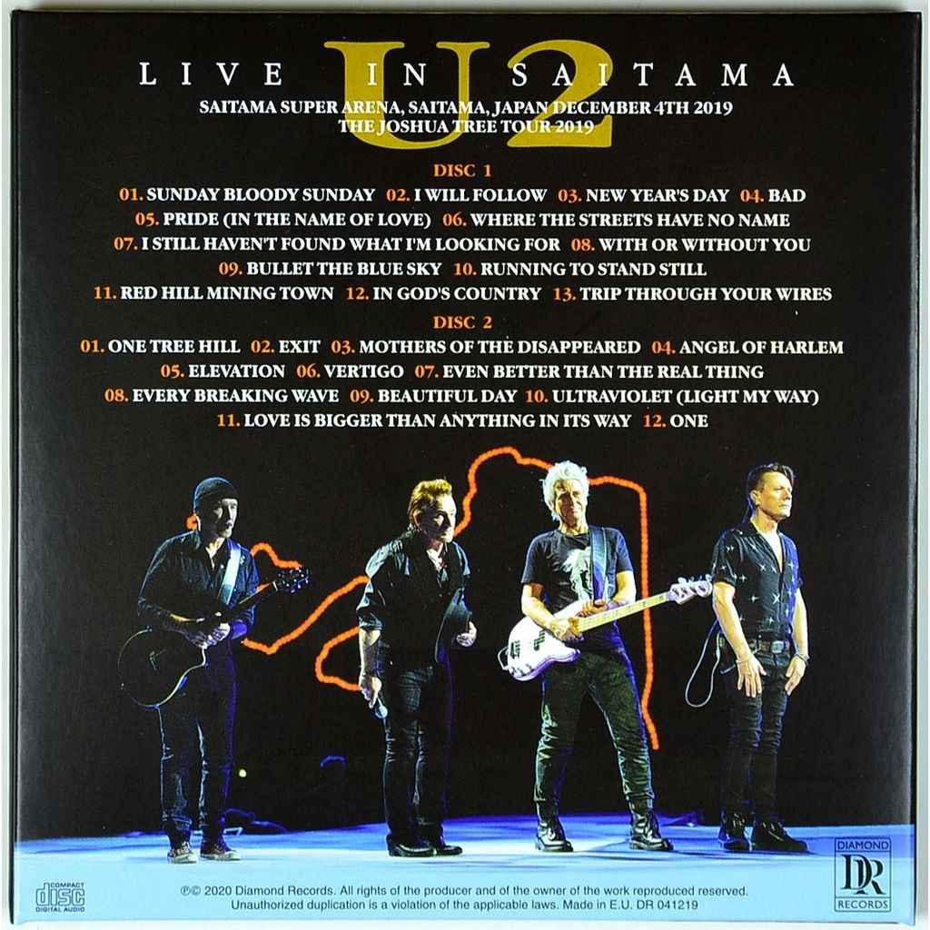 U2 Live In Saitama Japan 4 December 2019 The Joshua Tree Tour 2CD Digipack