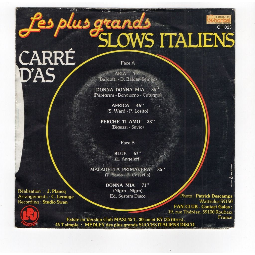 carre d'as Les Plus Grands Slows Italiens