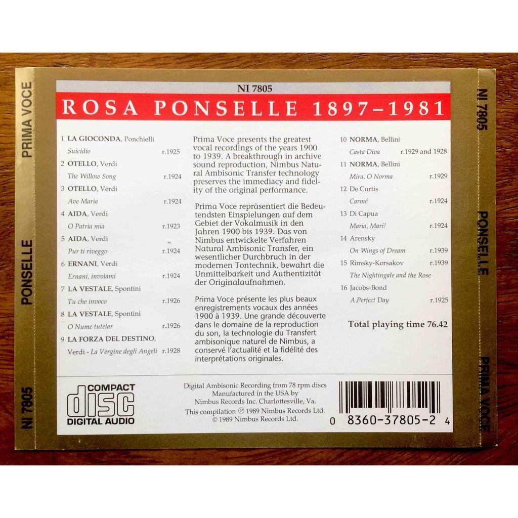 Ponselle, Rosa Prima Voce - 1897 - 1981