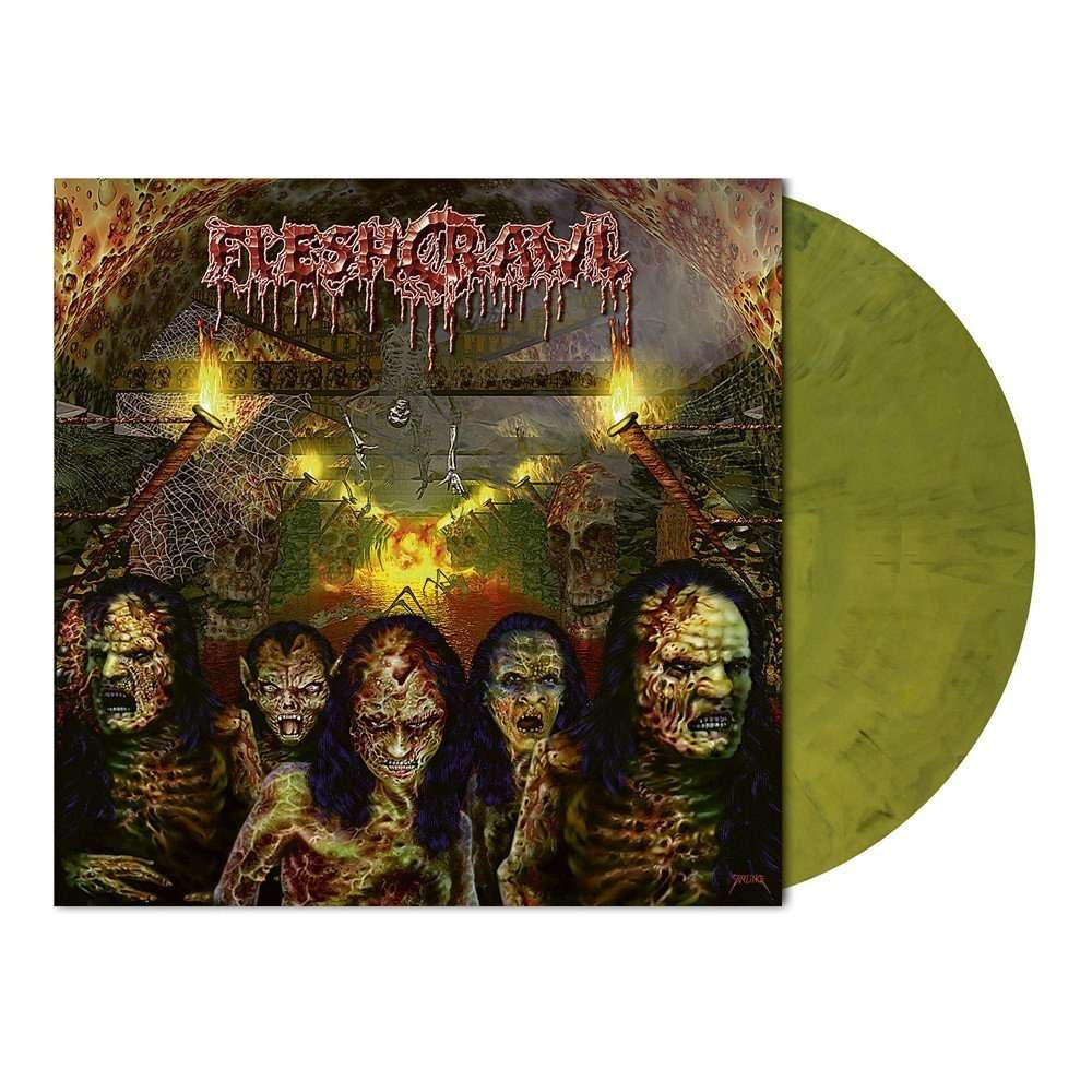 FLESHCRAWL As Blood Rains From The Sky ... We Walk The Path Of Endless Fire. Green Marble Vinyl