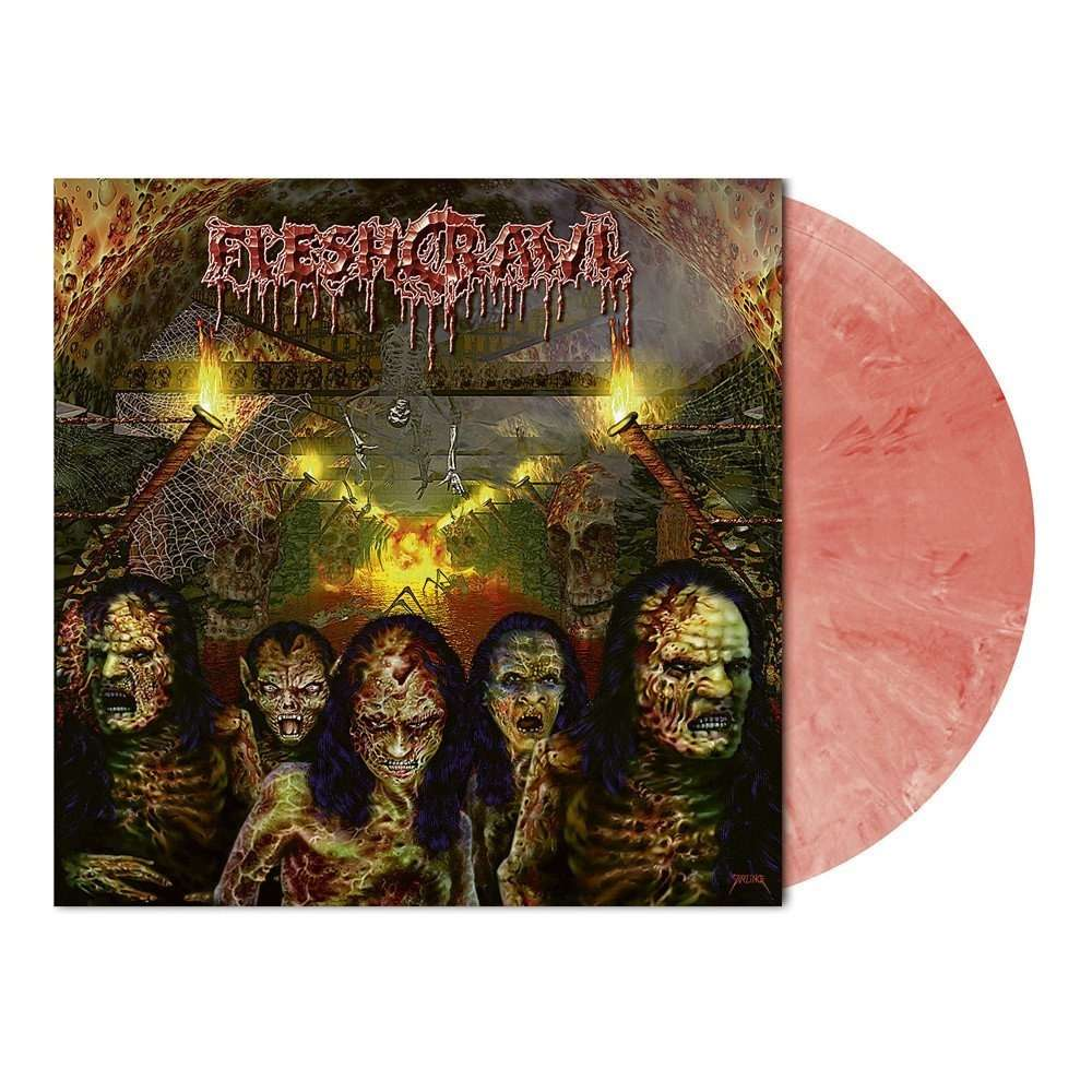 FLESHCRAWL As Blood Rains From The Sky ... We Walk The Path Of Endless Fire. Red Marble Vinyl