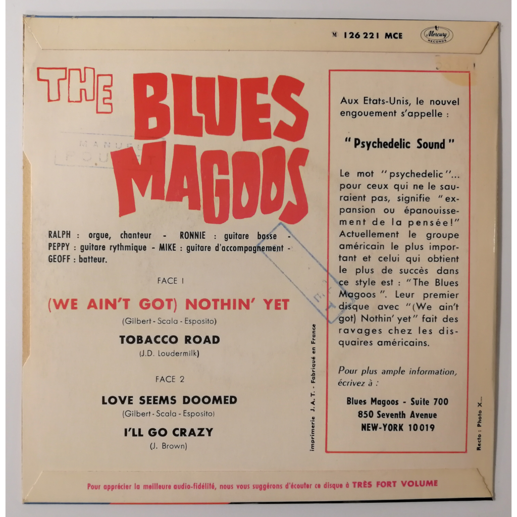 Blues Magoos (We Ain't Got) Nothin' Yet +3 (garage)