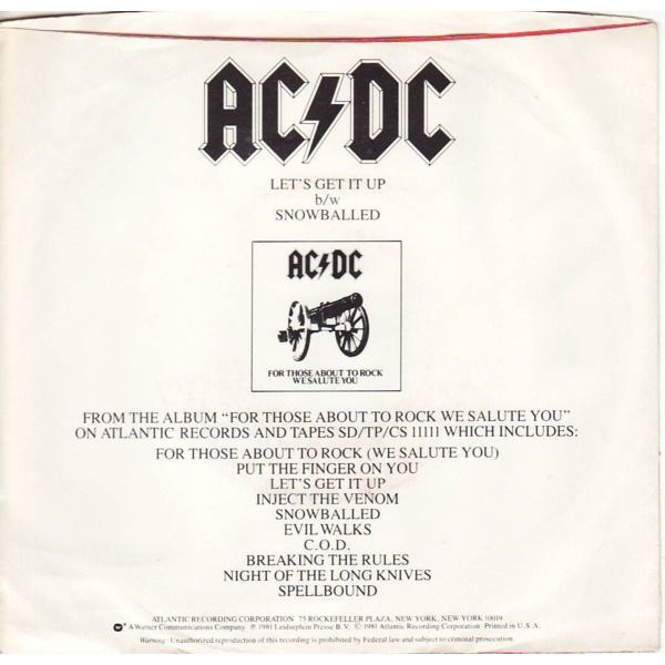 ac/dc let's get it up / snowballed