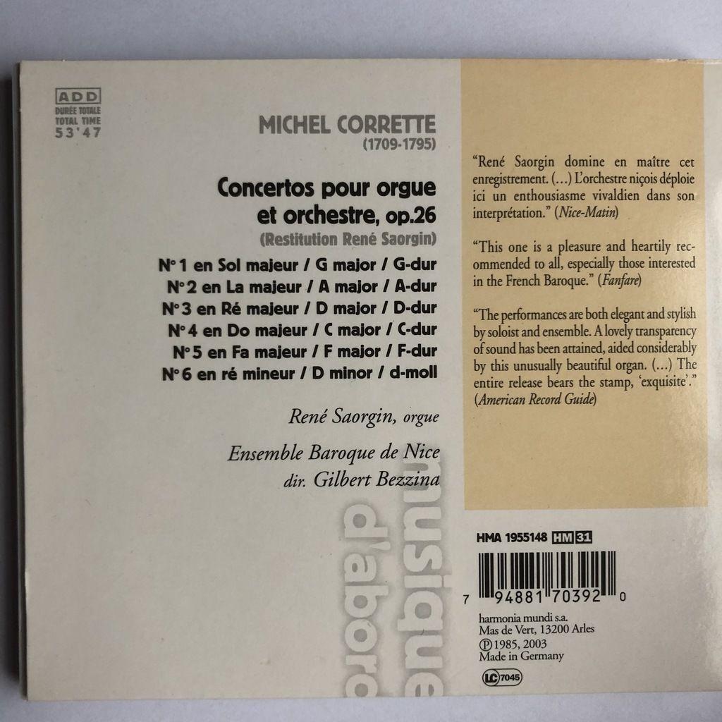 Corrette / René Saorgin, Gilbert Bezzina Concertos pour Orgue & Orchestre (HM Musique d'abord)