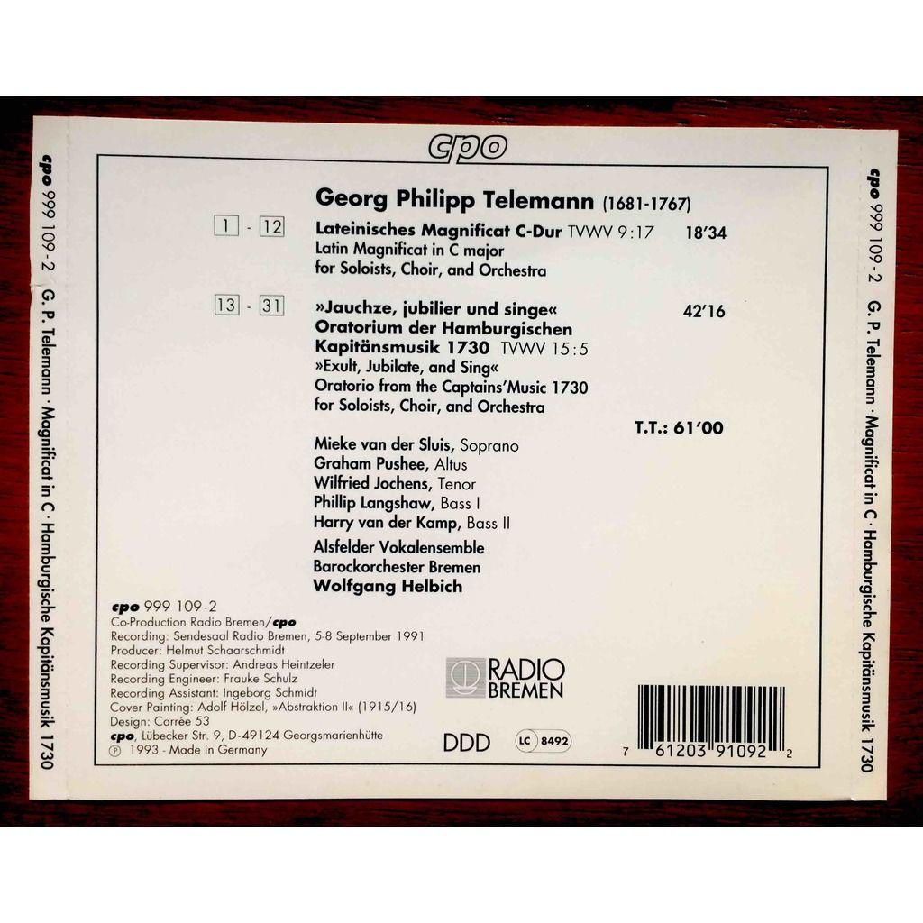 Telemann, Georg Philipp / Helbich, Wolfgang Magnificat in C major / Hamburgische Kapitansmusik 1730