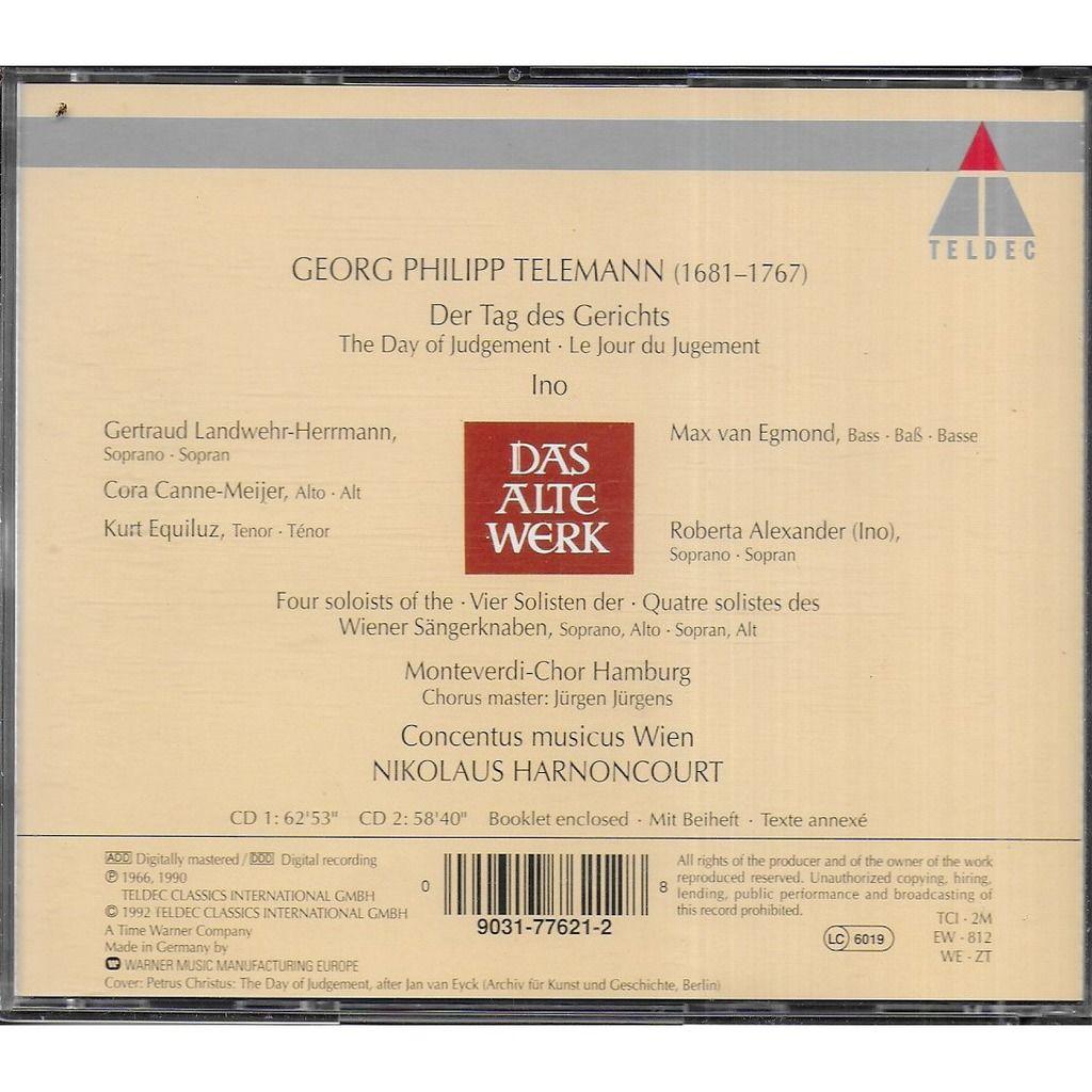 Georg Philipp TELEMANN DER TAG DES GERICHTS (Oratorio) / INO (Cantate)