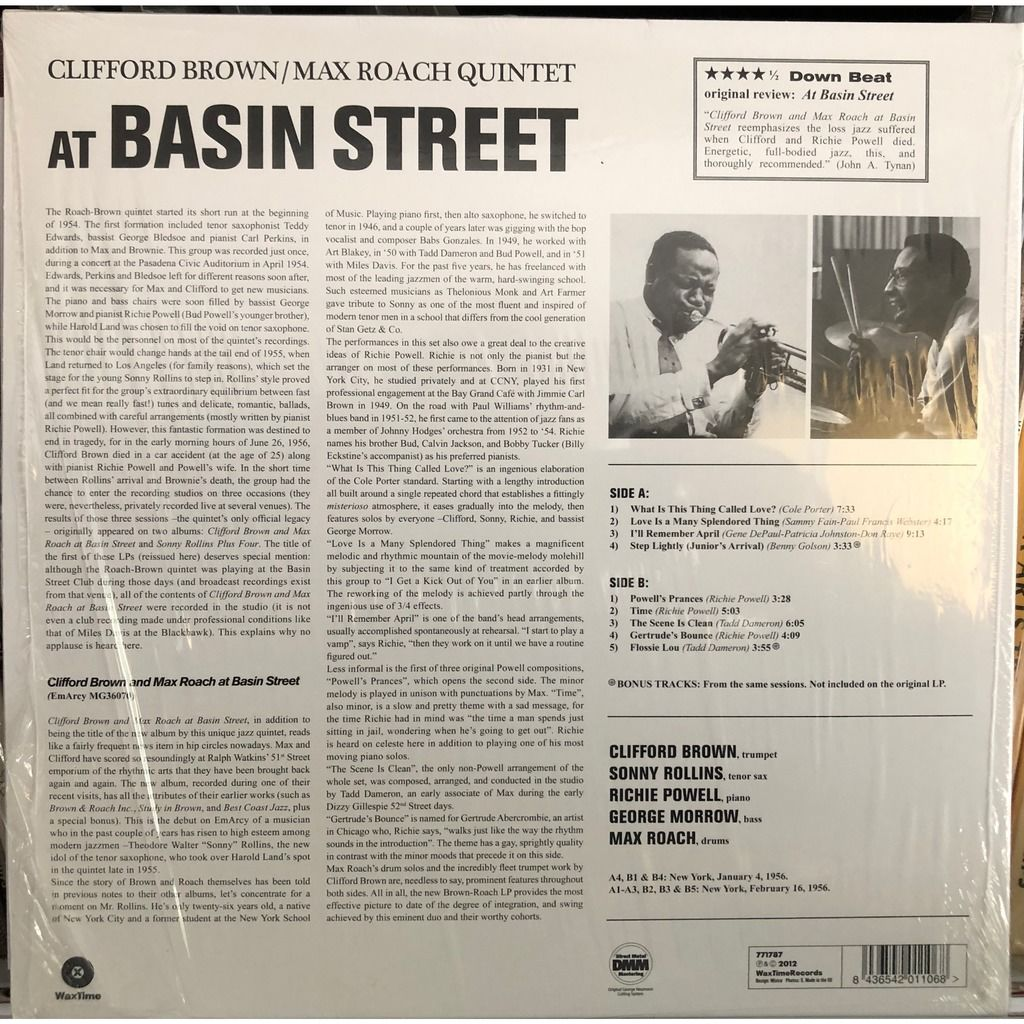 Clifford Brown Max Roach Sonny Rollins At Basin street