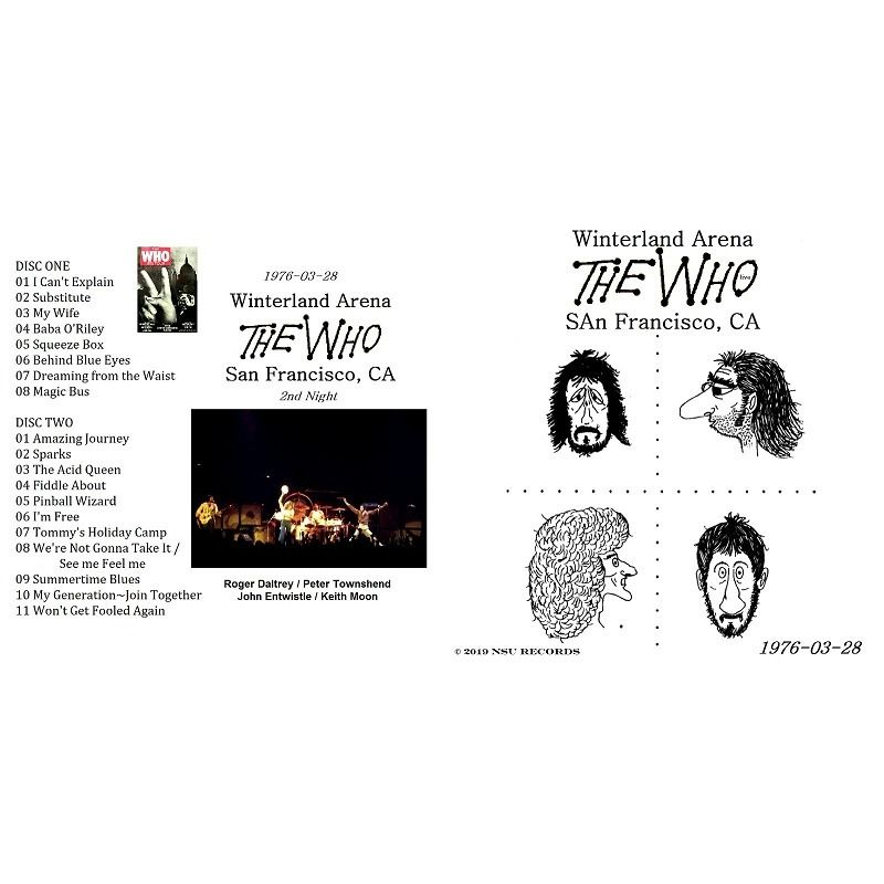 THE WHO LIVE AT THE WINTERLAND ARENA 1976 MARCH 28th LTD 2 CD