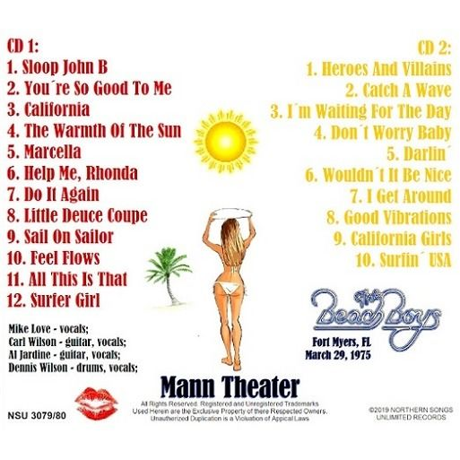 The-Beach-Boys Live in Fort-Myers-Florida-Mann-Theater-1975-March-29th-LTD-2-CD