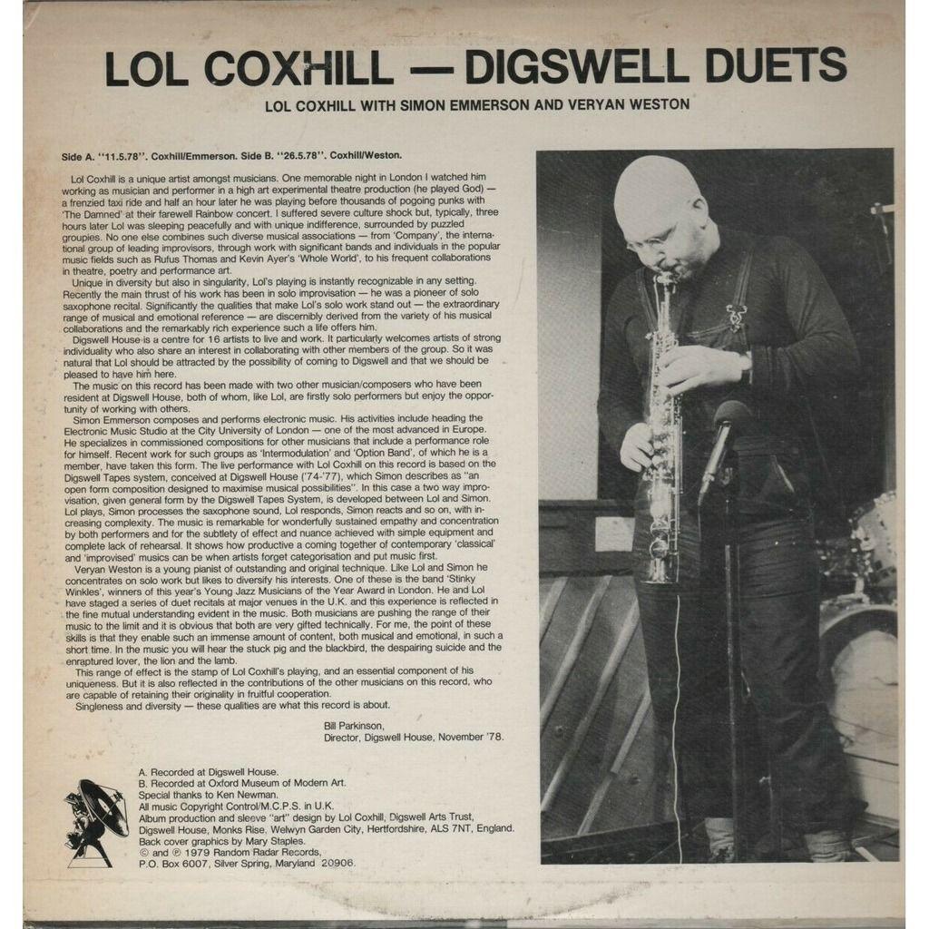 Lol Coxhill Veryan Weston Simon Emmerson Digswell Duets