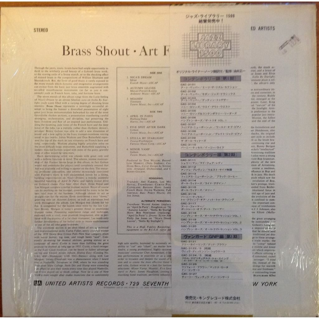Art Farmer Lee Morgan E Royal B Golson C Fuller Brass Shout