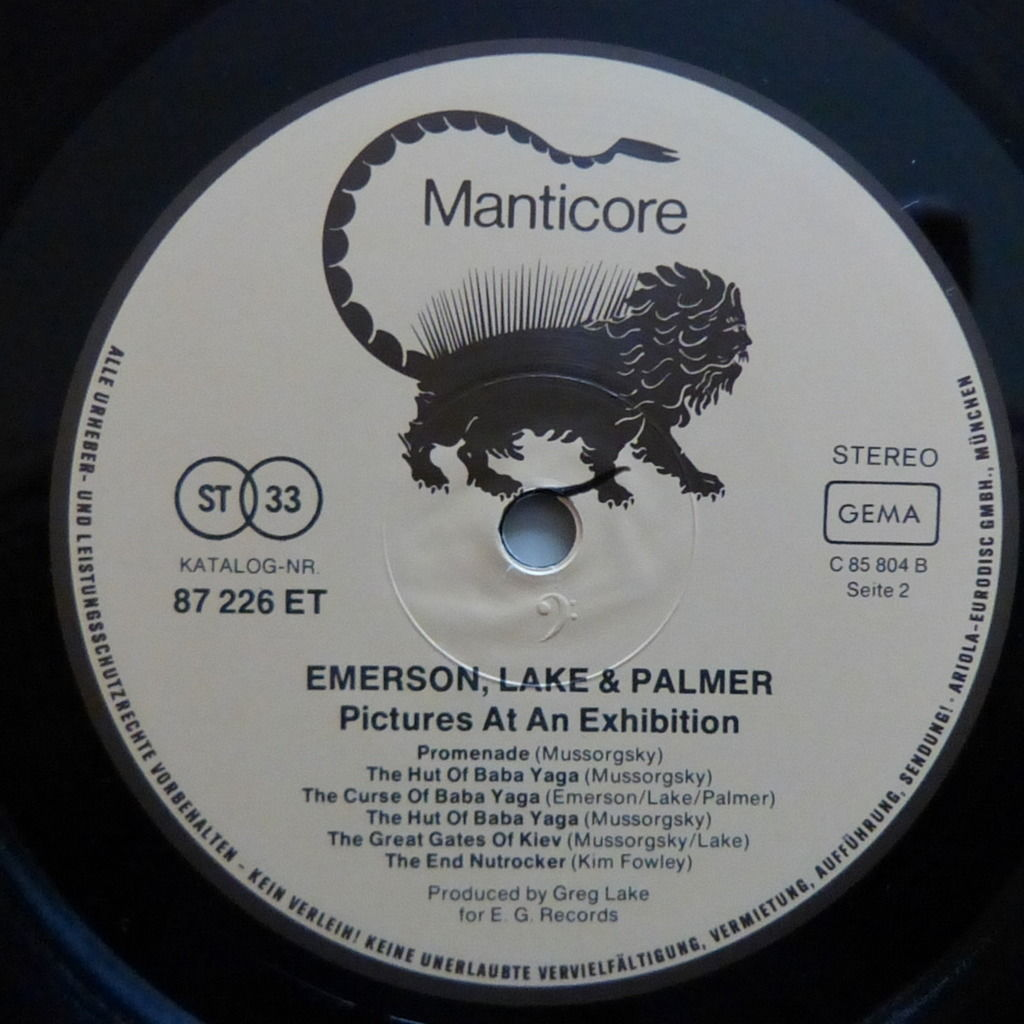 EMERSON LAKE AND PALMER PICTURES AT AN EXHIBITION