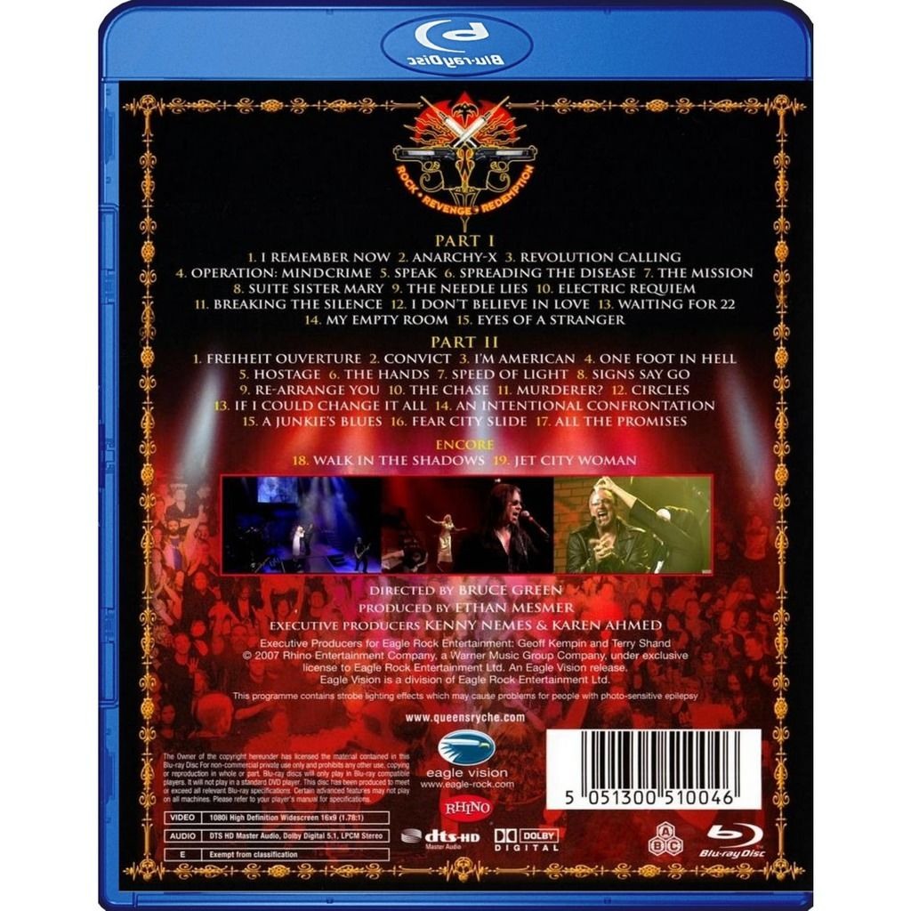 Queensryche Mindcrime At The Moore Blu-Ray Worldwide Free Shipping