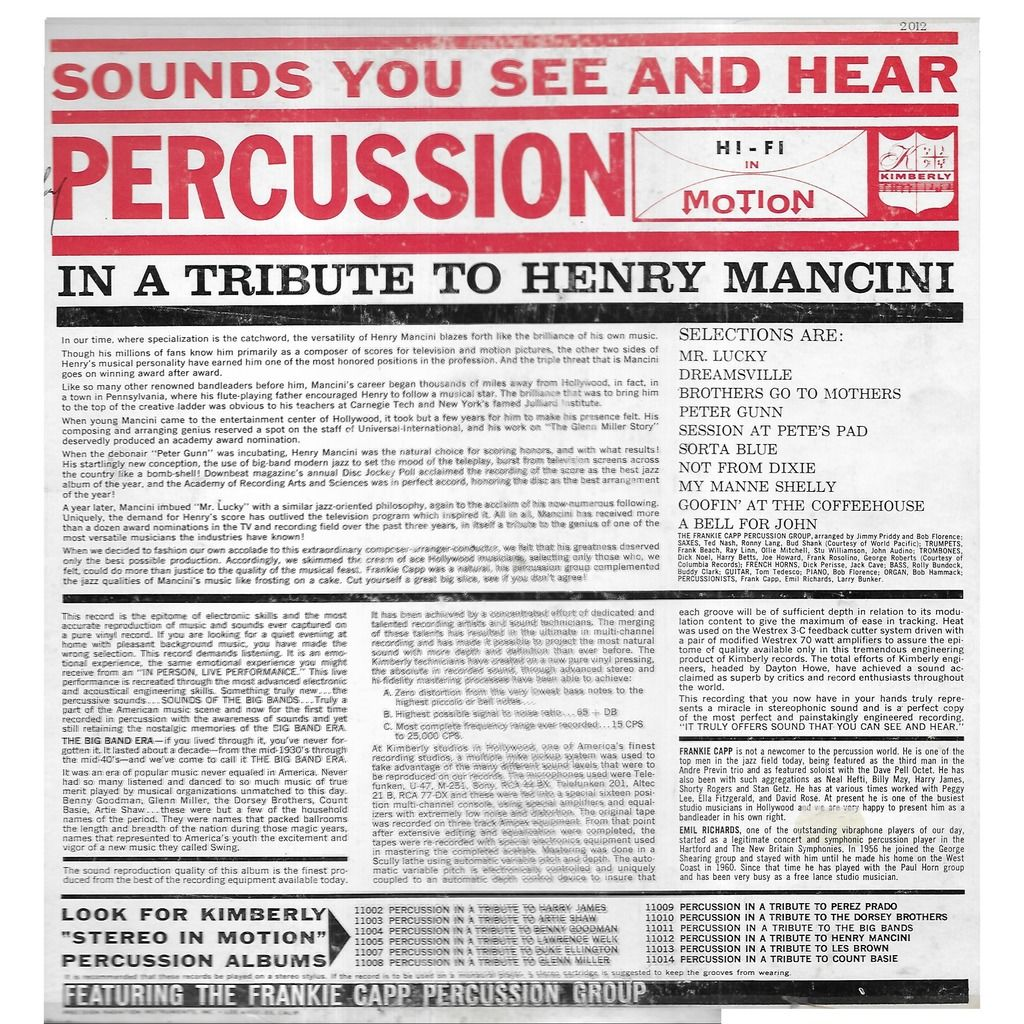 Frankie CAPP Percussion Group Percussion in a Tribute to Henri Mancini