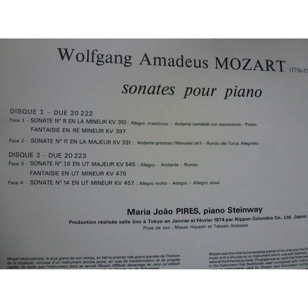 MARIA JOAO PIRES MOZART / SONATES POUR PIANO - ( double lp 12 stéréo near mint condition )
