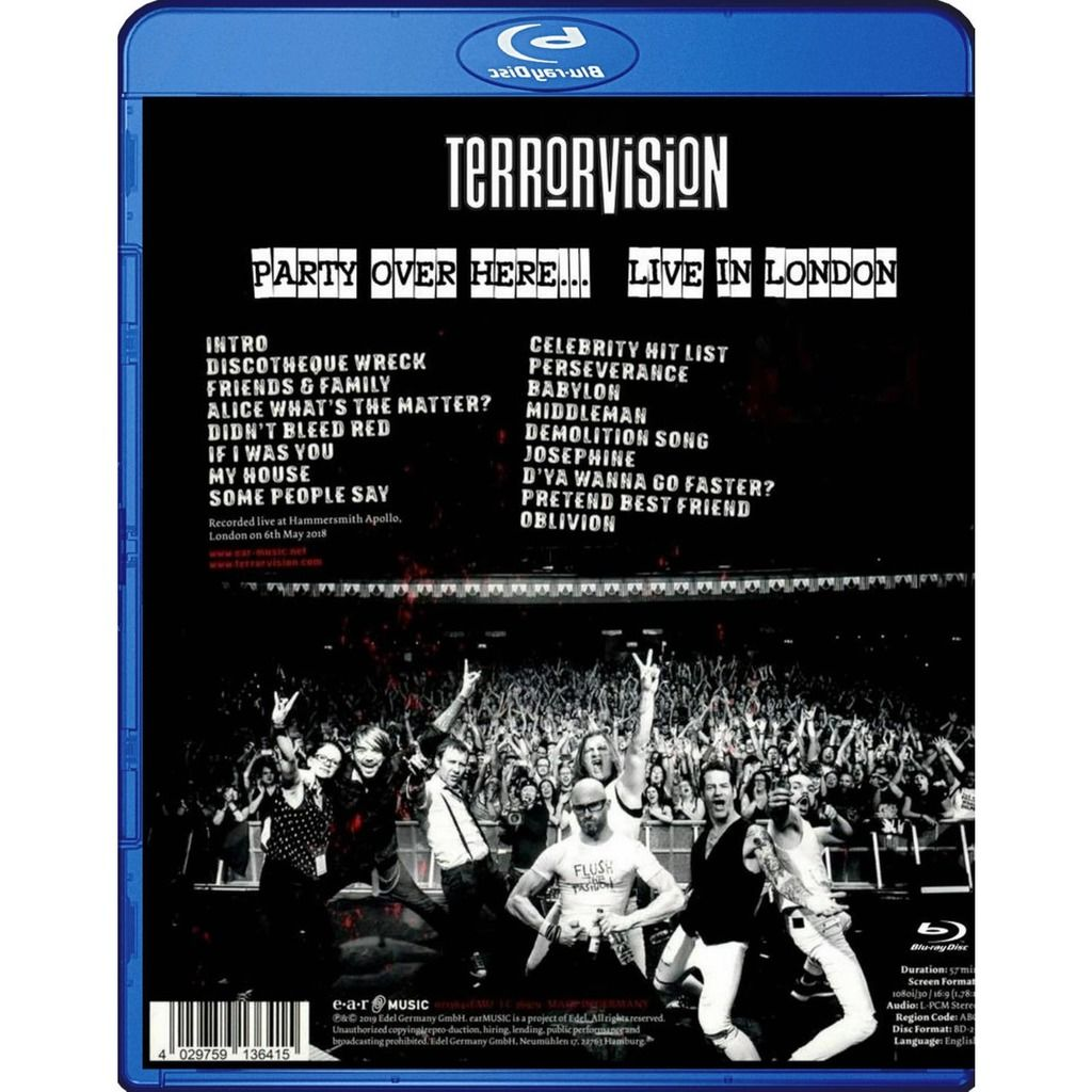 Terrorvision Party Over Here Live In London Blu-Ray Worldwide Free Shipping
