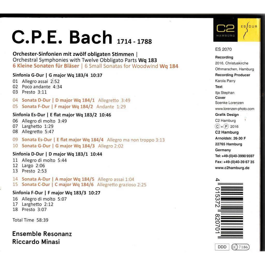 C.P.E Bach 4 symphonies Wq 183 / 6 Sonatas Wq 184 - Ensemble Resonanz / Riccardo Minasi