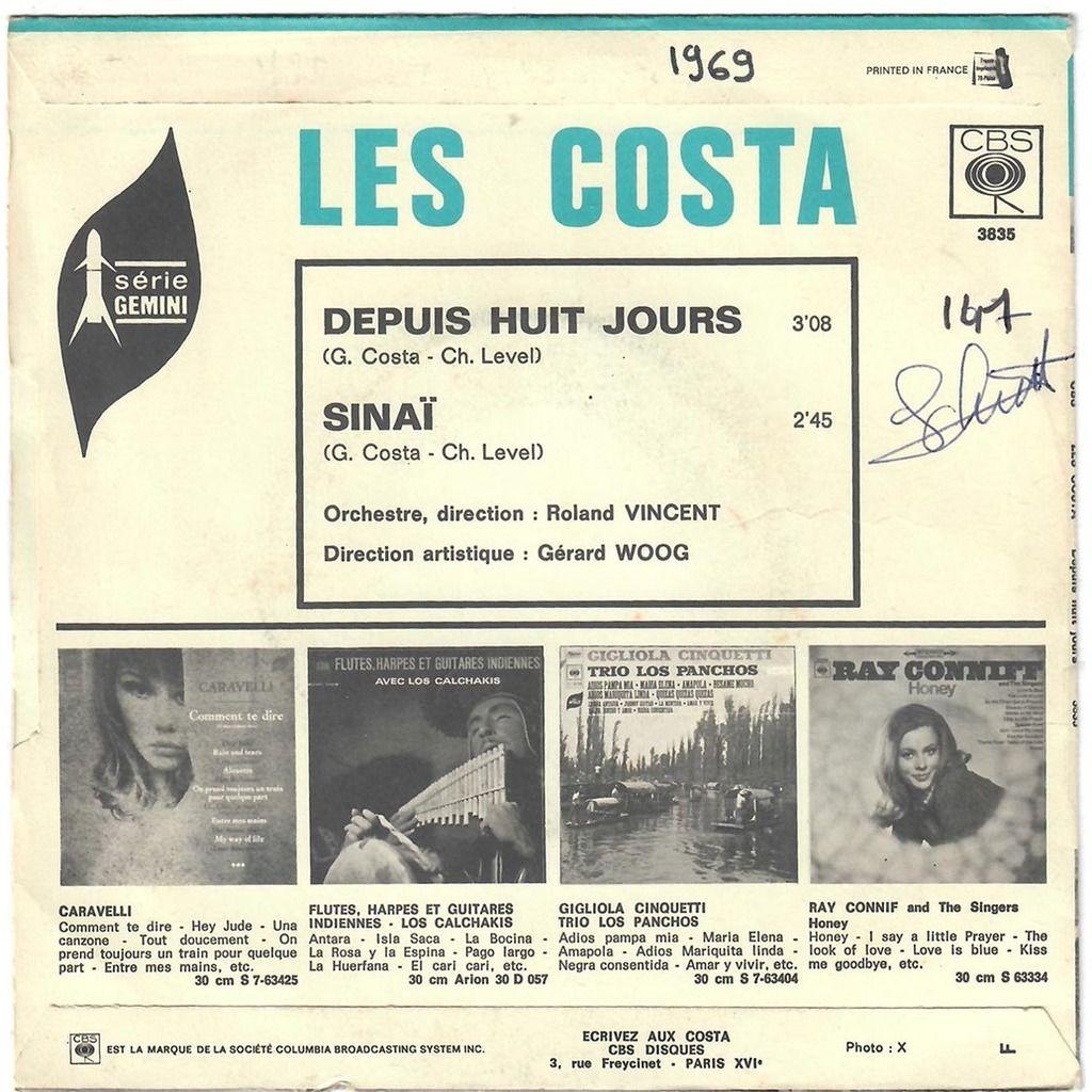 Les Costa (Georges Et Michel) Depuis Huit Jours / Sinaï