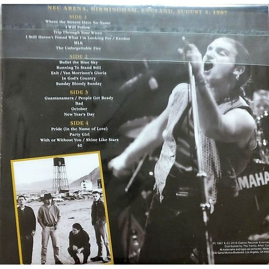 U2 Joshua Tree In Birmingham (NEC Arena England UK 04.08.1987) (Ltd 400 copies 2LP GOLD WAX)