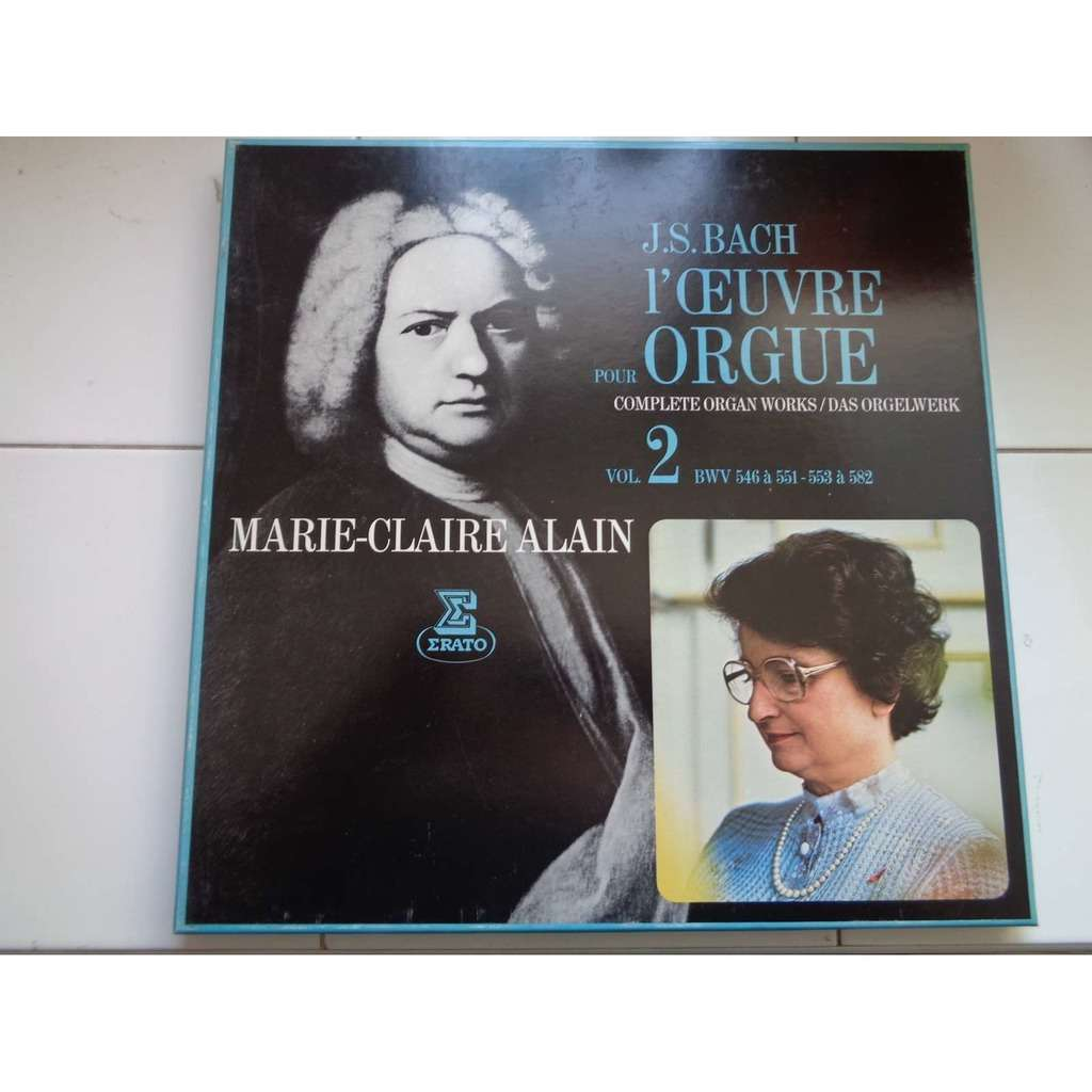 marie claire alain JS Bach : Organ works vol.2 – BWV 546 to 551 & 553 to 582 - ( 4 lp set box mint condition )