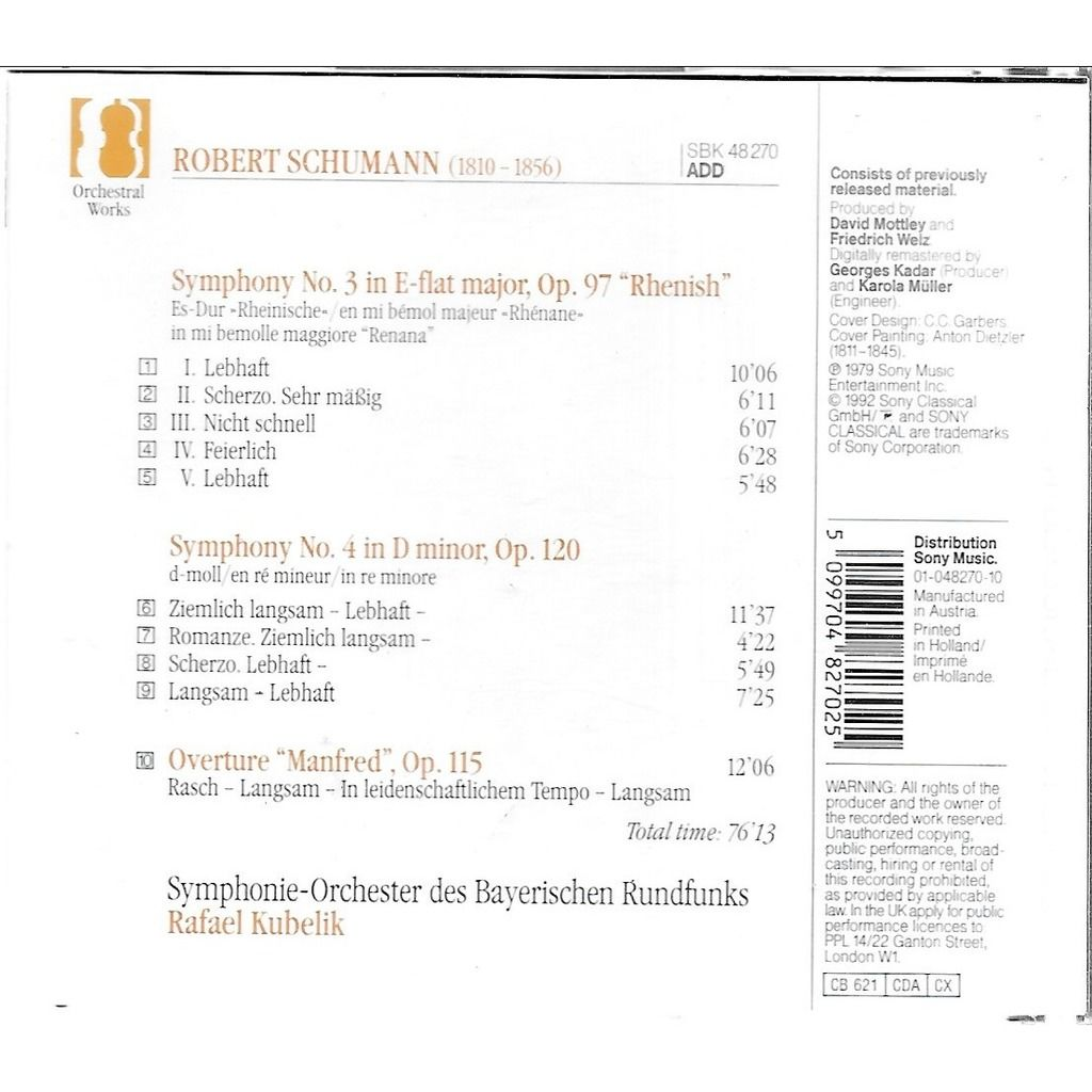 Robert SCHUMANN (1810-1856) Symphonie 3 & 4 / Ouverture Manfred
