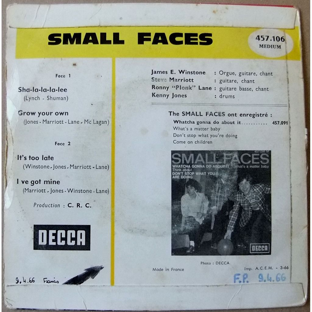 SMALL FACES Sha-la-la-la-lee + 3
