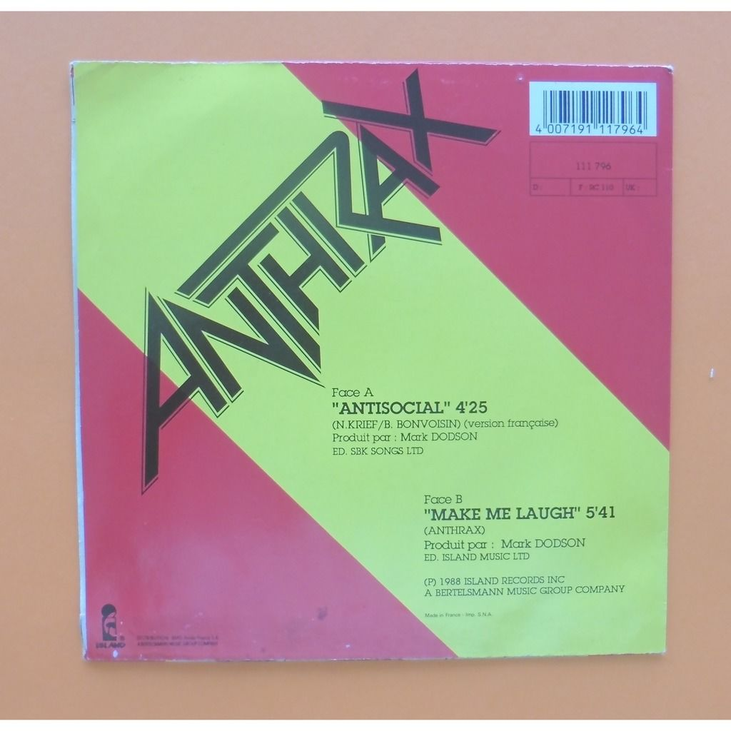 ANTHRAX ANTISOCIAL / MAKE ME LAUGH