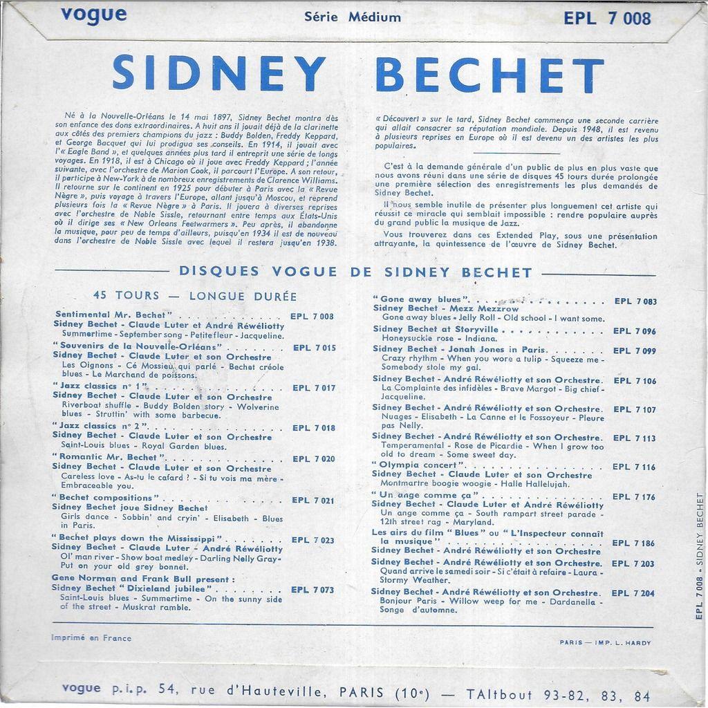 Sidney BECHET Sentimental Mr. Bechet