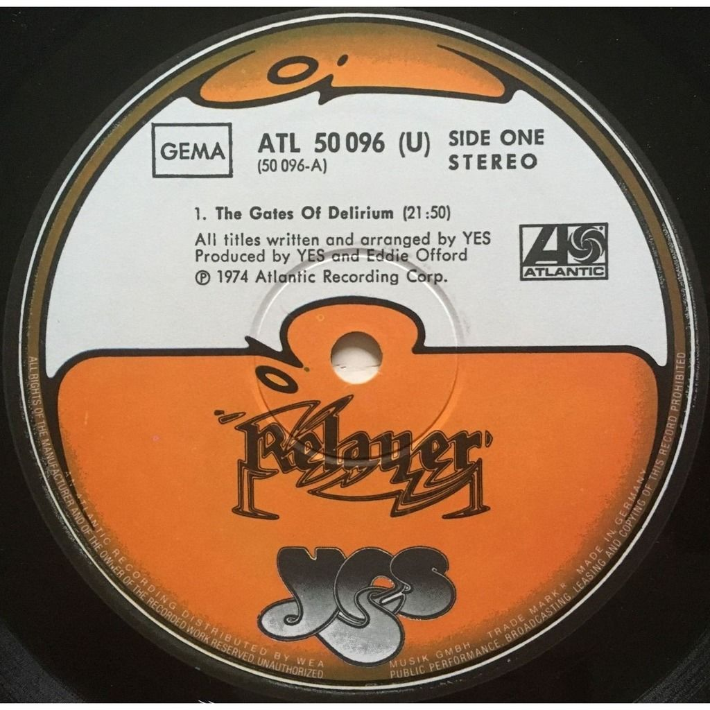 YES - RELAYER (GER. PRESSING 12 VINYL LP + INNER)