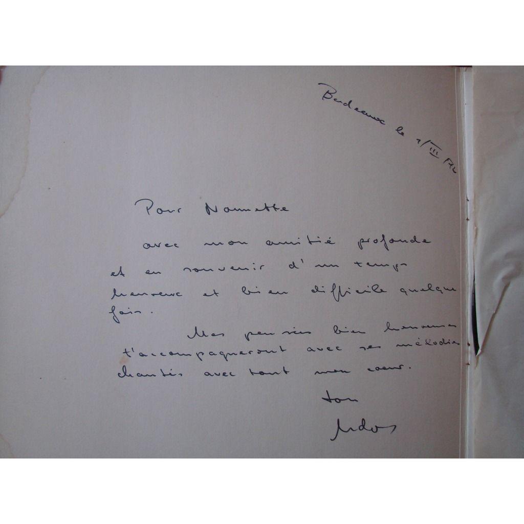 Udo Reinemann baryton - C. Ivaldi, piano Schubert : Lieder - longue dédicace de Udo le 7 mars 1972 a Bordeaux - voir photo