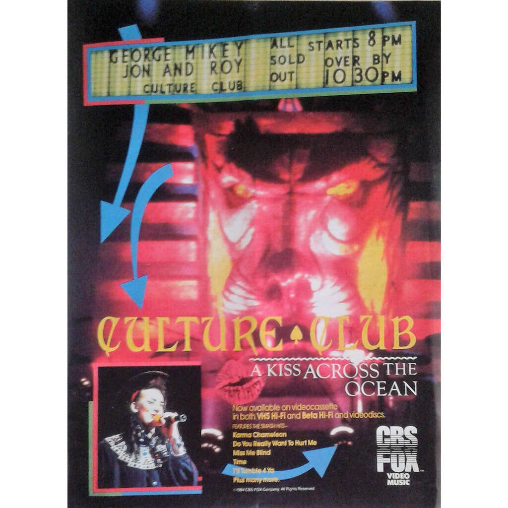 Culture Club / Boy George A Kiss Across The Ocean (USA 1984 promo type advert 'Video release' poster!)