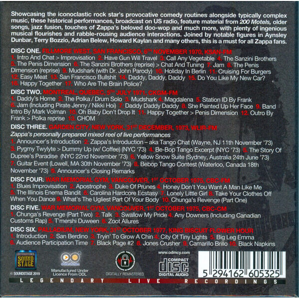 FRANK ZAPPA 1970S BROADCAST COLLECTION (6CD)