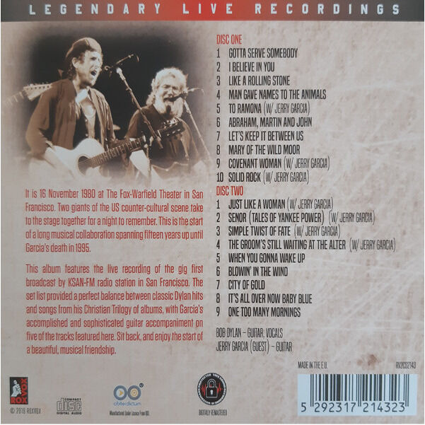 Bob Dylan With Jerry Garcia San Francisco 1980 2xCD