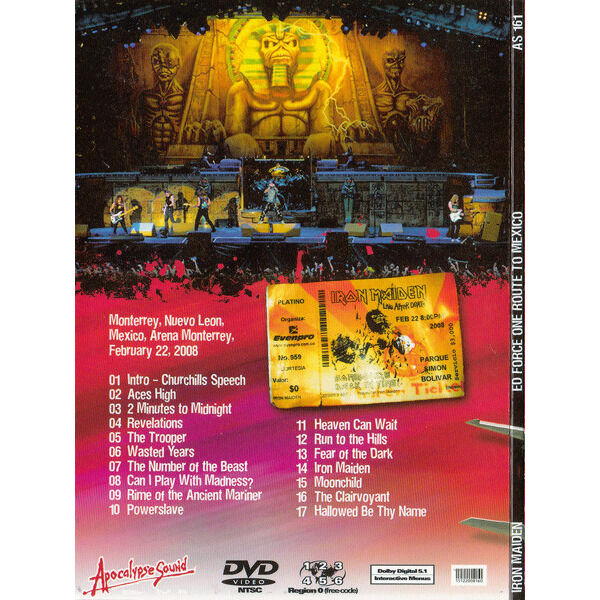 IRON MAIDEN ED FORCE ONE ROUTE TO MEXICO DVD