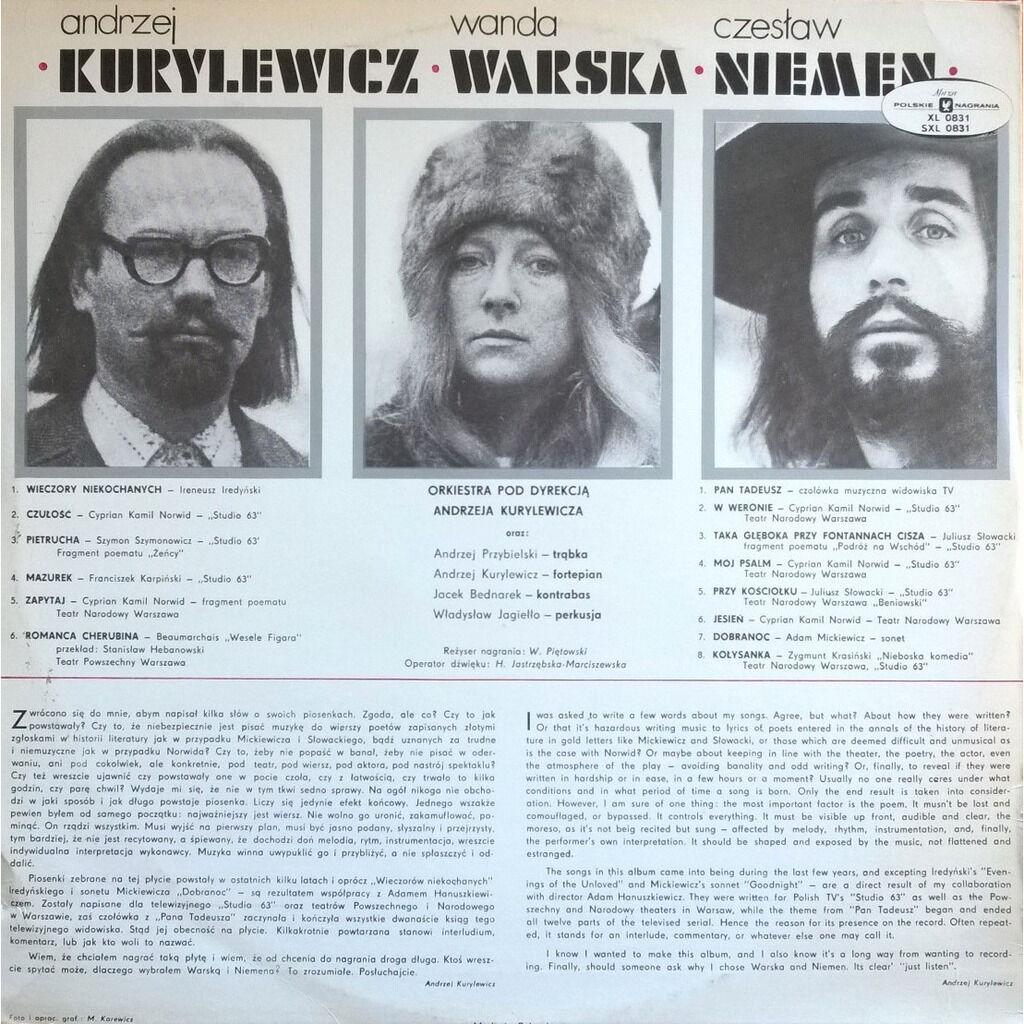 kurylewicz, warska, niemen muzyka teatralna i telewizyjna
