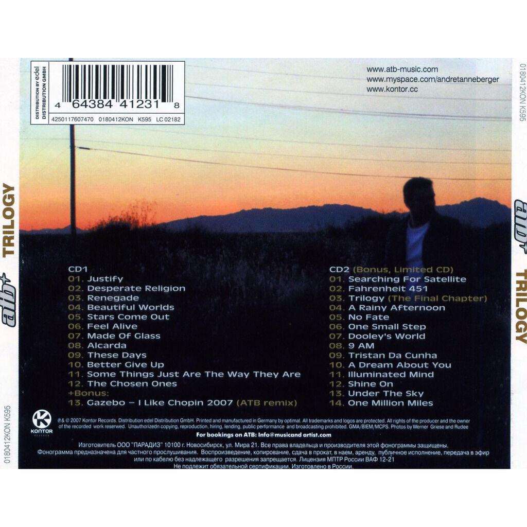 ATB Trilogy 2CD (Incl. Gazebo - I Like Shopin 2007 (ATB Remix))