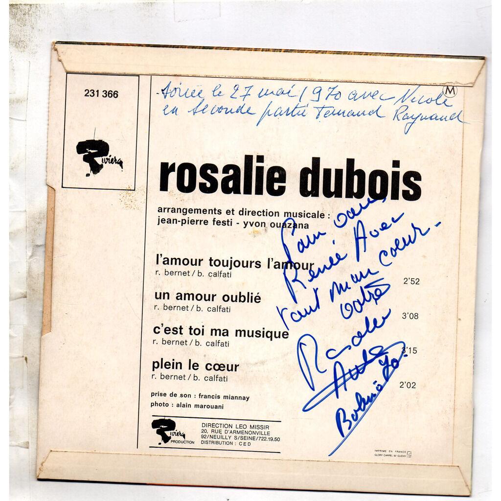 DUBOIS Rosalie L'amour toujours l'amour /Un Amour Oublié/C'est Toi Ma Musique/Plein Le Coeur