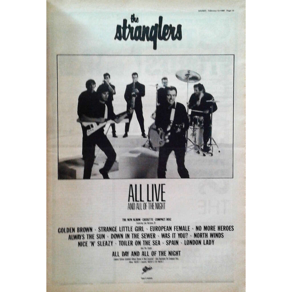 Stranglers All Live And All Of The Night (UK 1988 promo type advert 'album release' poster!)