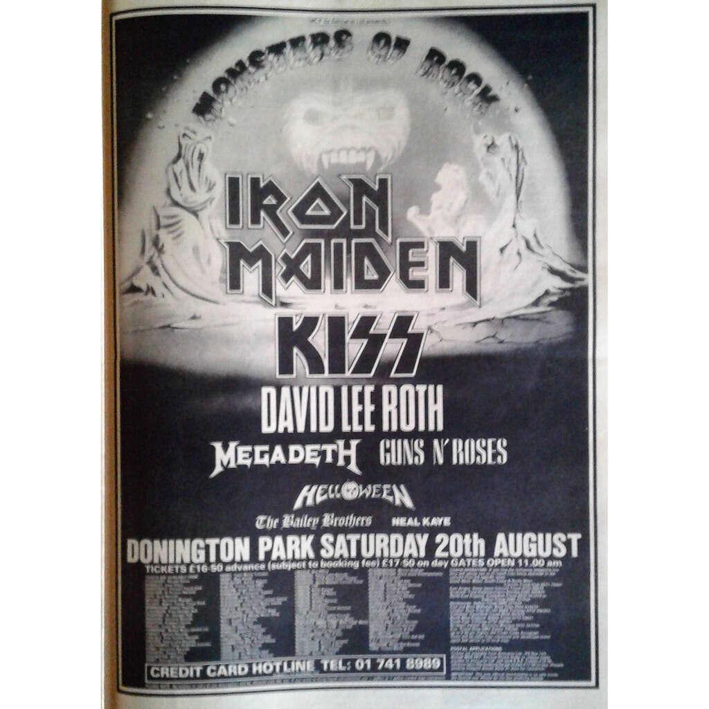Iron Maiden / KISS / Megadeth / guns n' roses Donington Park 20.08.1988 (UK 1988 promo type advert concert poster flyer!)